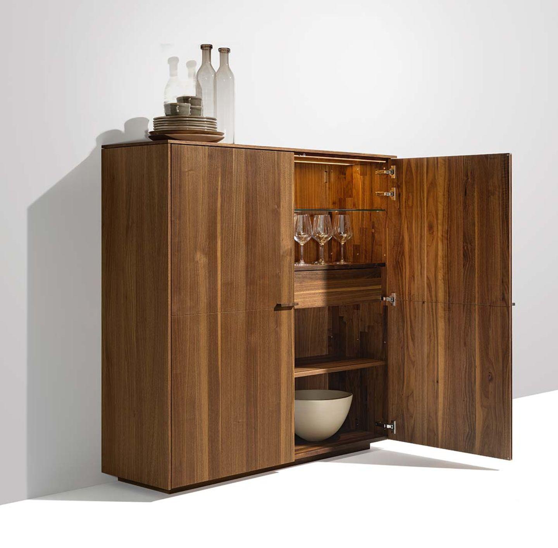 buffet haut filigno avec façade en bois et nervure horizontale ou verticale