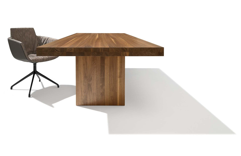 table tema avec flancs en noyer massif