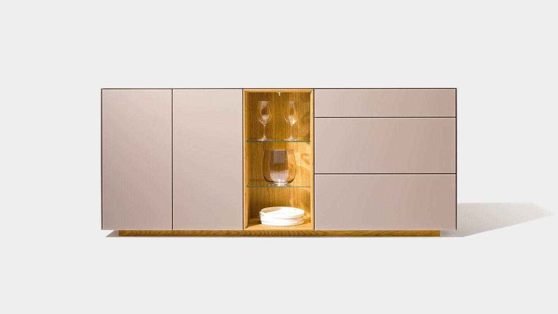 Sideboard cubus pure mit Farbglas und Gestaltungselemente