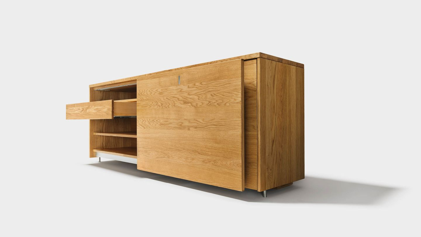 cubus sideboard made of solid wood in oak, open