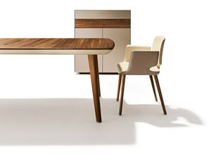 flaye extendable table in wood with aye chair