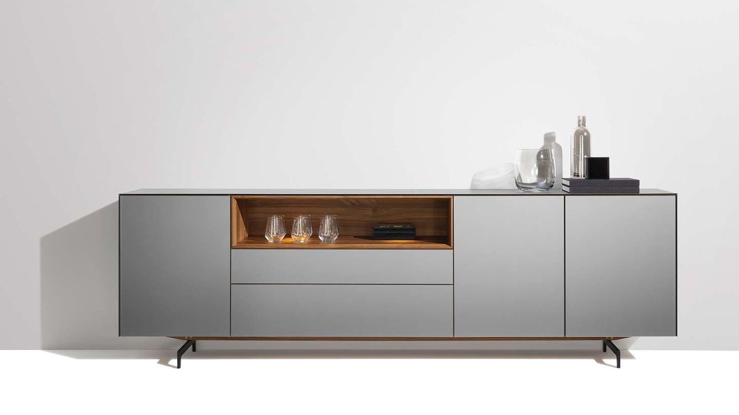 cubus pure sideboard in walnut with matt black slide by TEAM 7