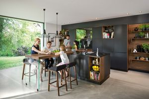 TEAM 7 black line kitchen with extension table