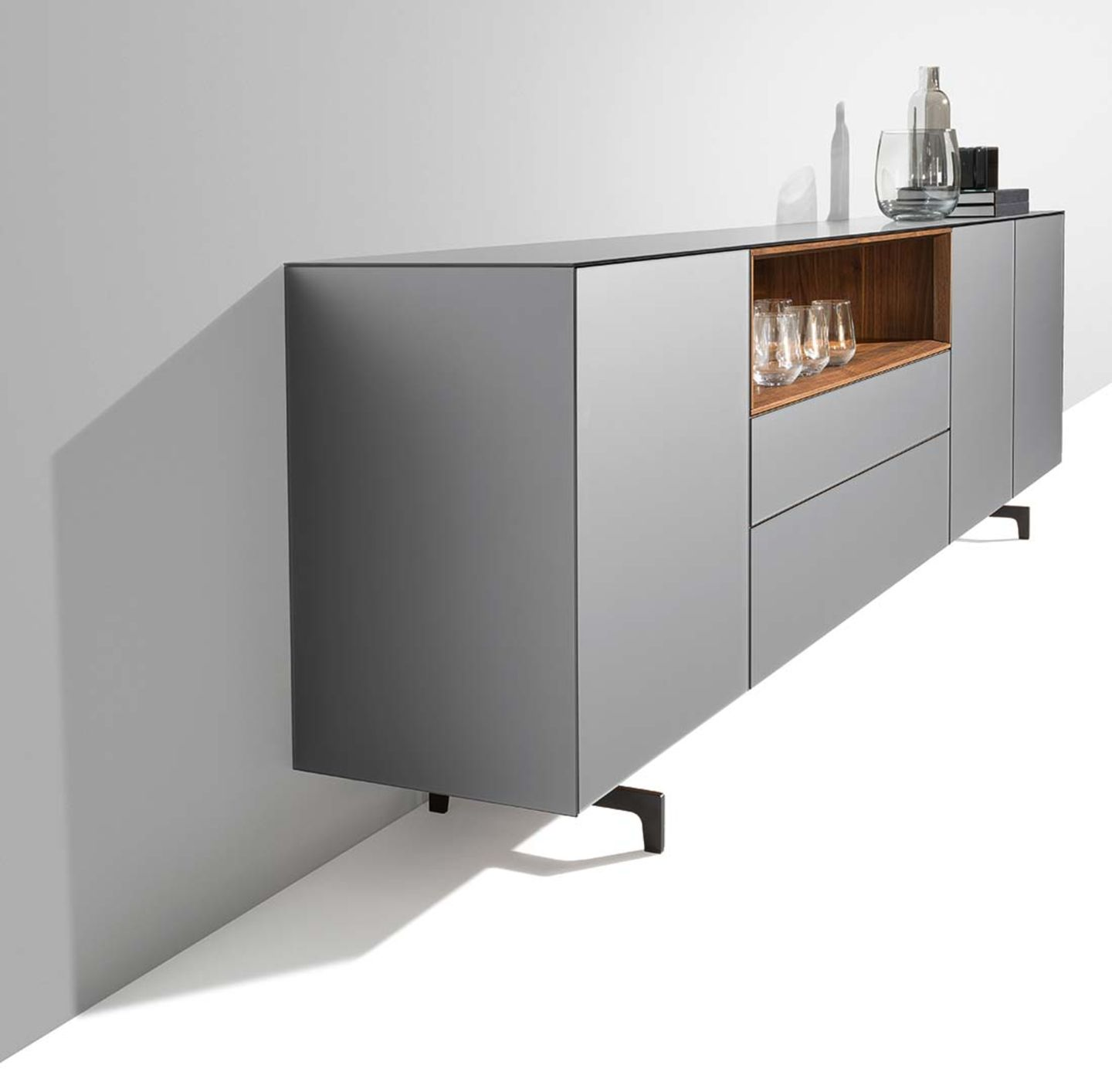 cubus pure sideboard in walnut, matt steel glass, from the side