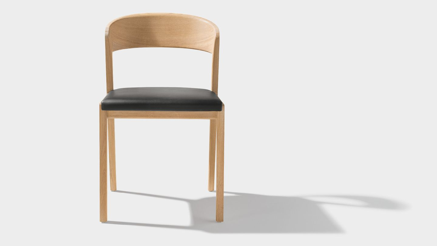 mylon chair front with upholstered seat