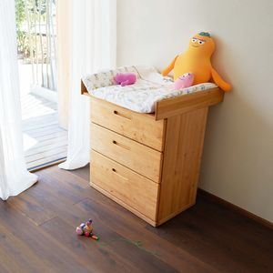 mobile nappy-changing table made of solid wood