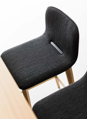 ark bar stool in fabric with piping strip in leather