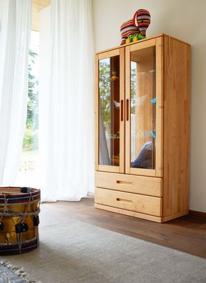 Kinderzimmer Vitrine mobile aus Echtholz