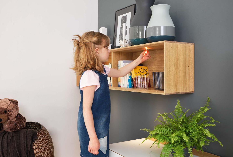 """Стенная мебель """"cubus pure"""" из натурального дерева и со светодиодным освещением"""