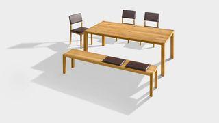 Banquette loft avec table et chaises s1