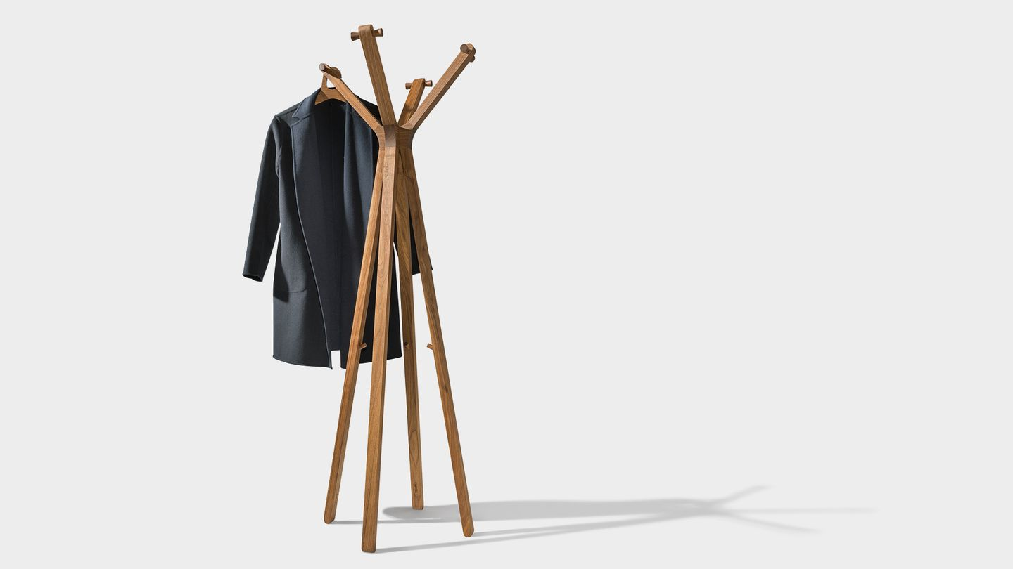 hood clothes rack in walnut by TEAM 7