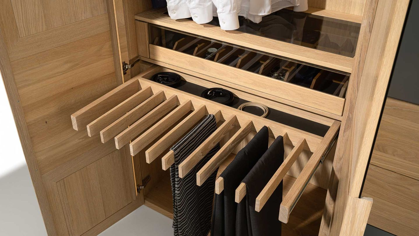 Wardrobe interior with organisational helper made