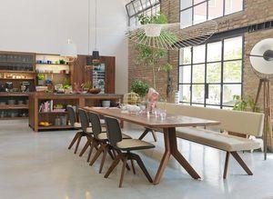 Panca yps in legno naturale con tavolo yps e sedie aye