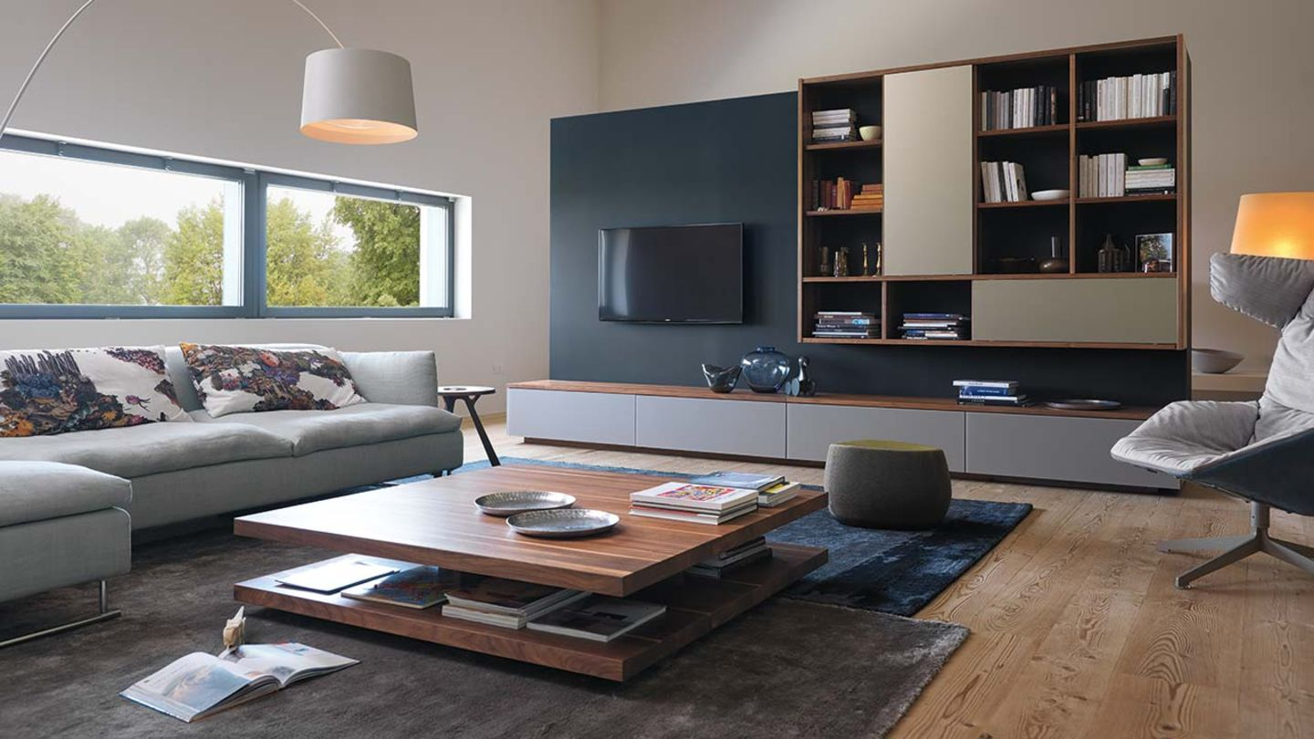 cubus wall unit made of solid wood for the living room