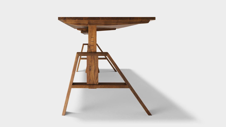 Höhenverstellbarer Schreibtisch atelier aus Echtholz in Nussbaum