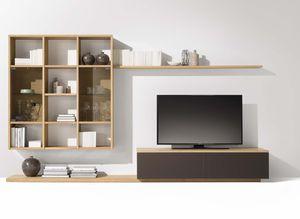 """Стенная мебель """"cubus"""" из дерева с интегрированной полкой"""