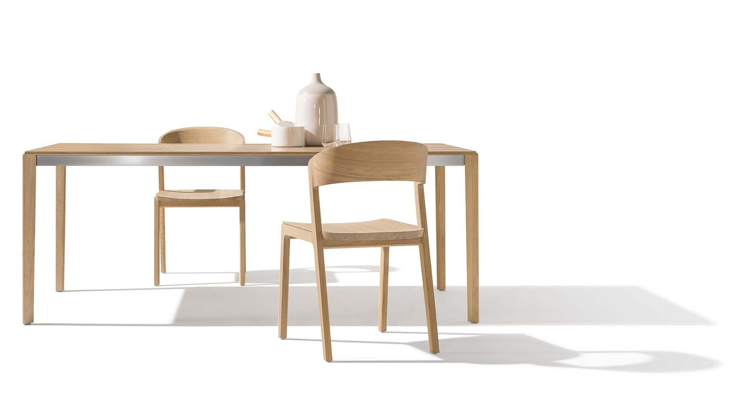 tak table with mylon chair made from solid wood