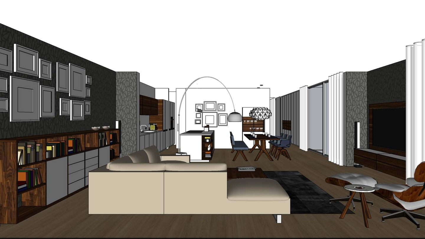 TEAM 7 Furnplan planning example for the living and dining area, looking in to the room from front