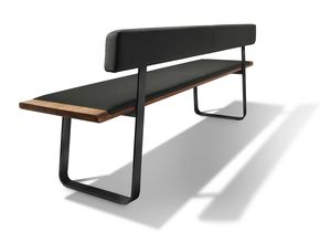 nox bench with metal slides in walnut and leather