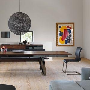 Chaise cantilever magnum en cuir noir et table extensible nox