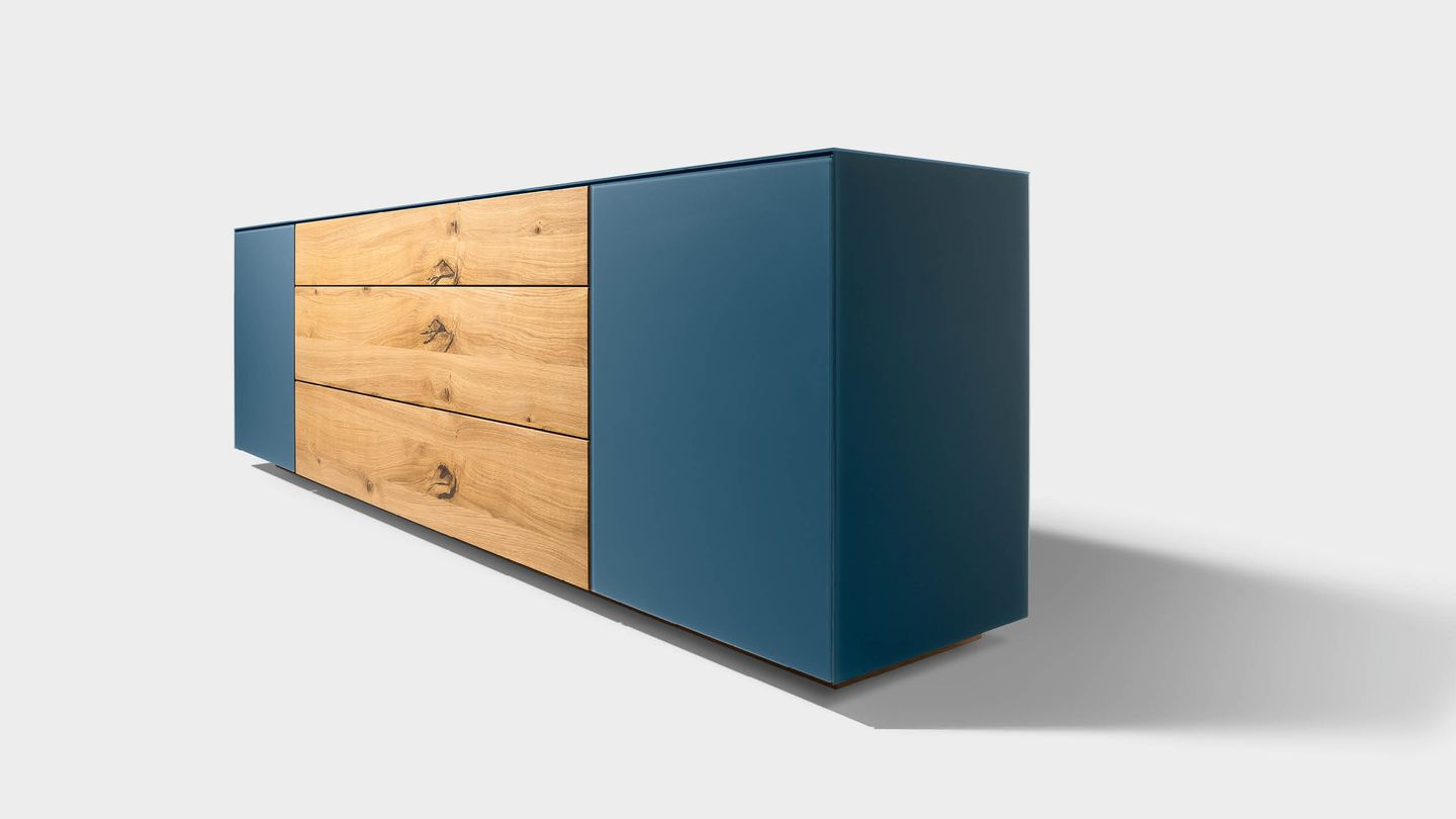 cubus pure sideboard in coloured glass