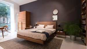 float bed in walnut with natural leather TEAM 7 Vienna