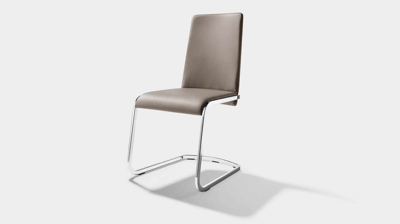 Stuhl Freischwinger f1 in grauem Leder