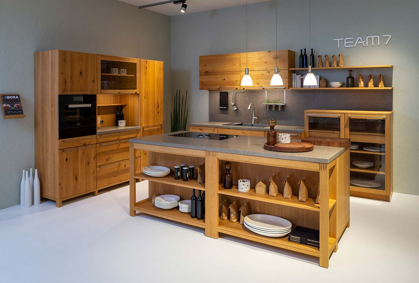 loft solid wood kitchen in wild oak at TEAM 7 store Hamburg Altona