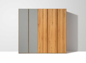 soft wardrobe with hinged doors in beech heartwood