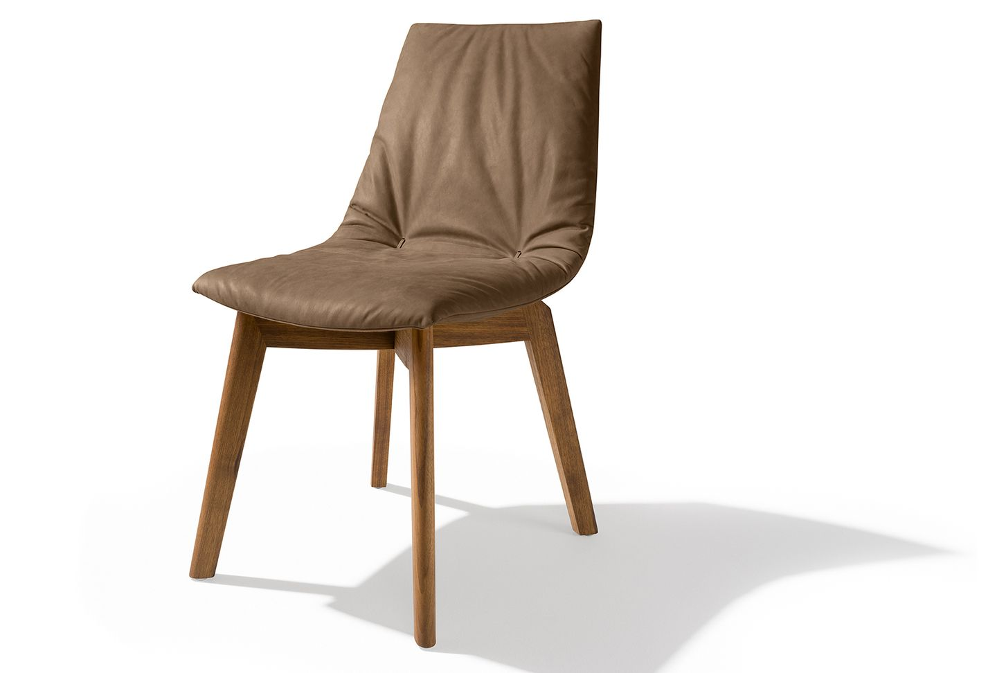 lui chair with walnut legs and leather tartuf