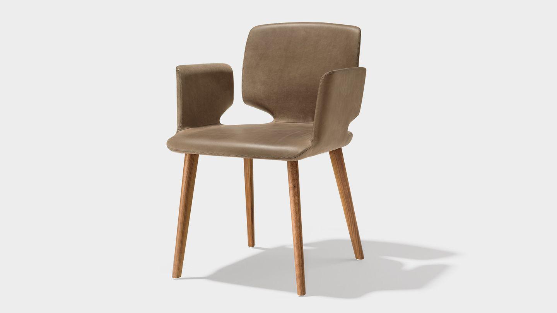 Кожаный стул aye из орехового дерева
