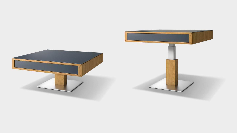 Table de salon lift avec façade et plateau en verre coloré