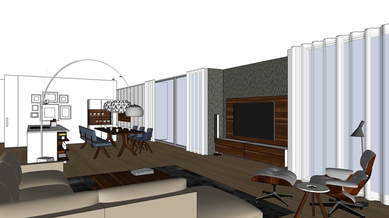 TEAM 7 Furnplan-Planungsbeispiel für den Wohn- und Essbereich mit Wohnwand