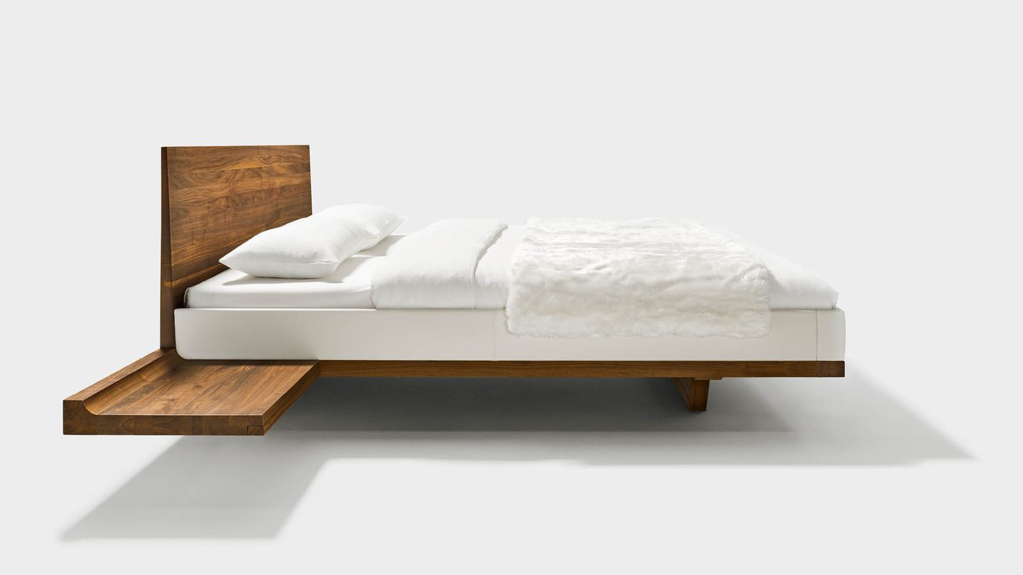 riletto bed with consoles made of solid wood