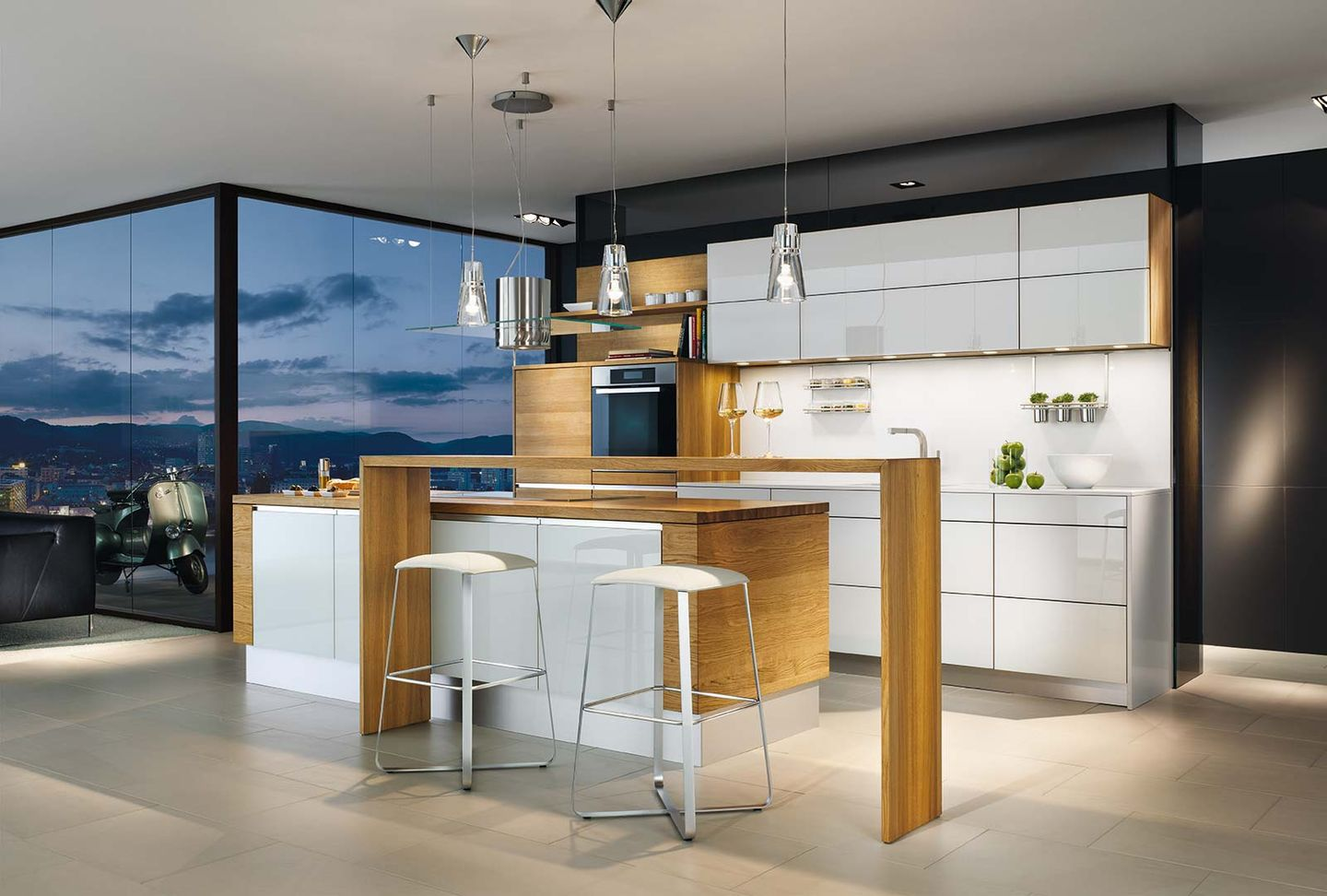 linee designer kitchen with bar element with lux bar stool