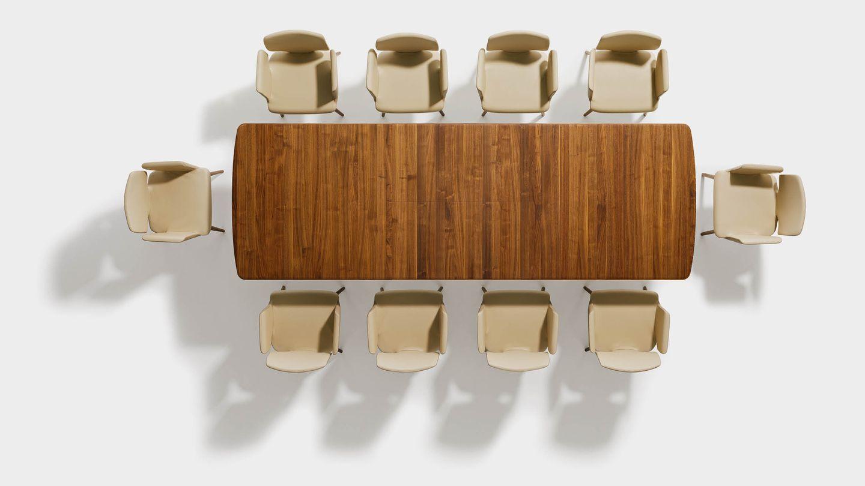 Table en bois naturel flaye en noyer vue du dessus