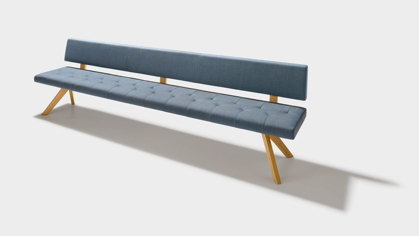 yps bench in fabric with backrest