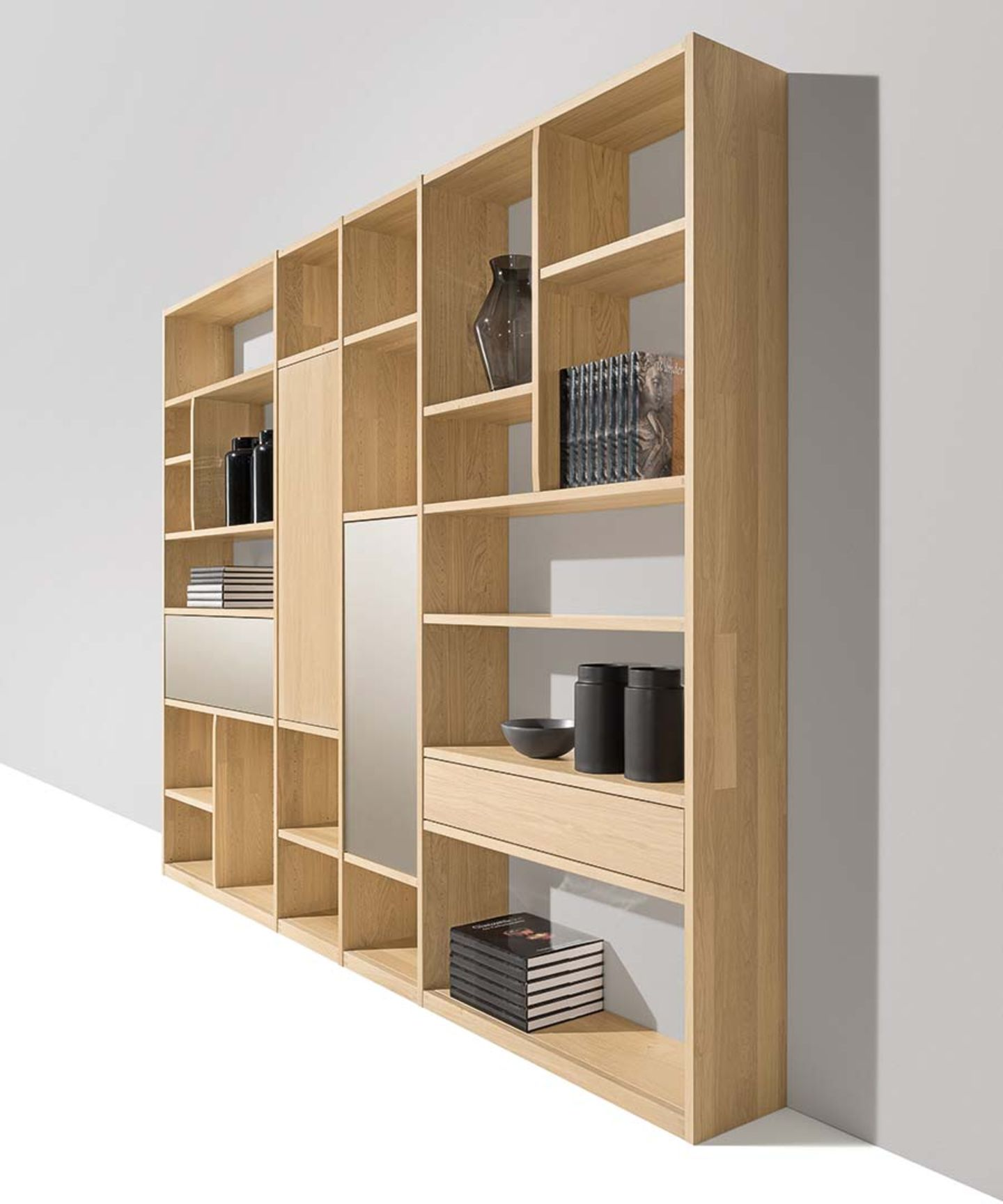 cubus shelf made of solid wood with glass