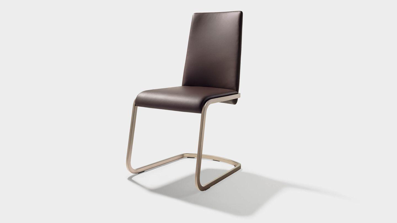 """Консольный стул """"f1"""" из тёмно-коричневой кожи"""
