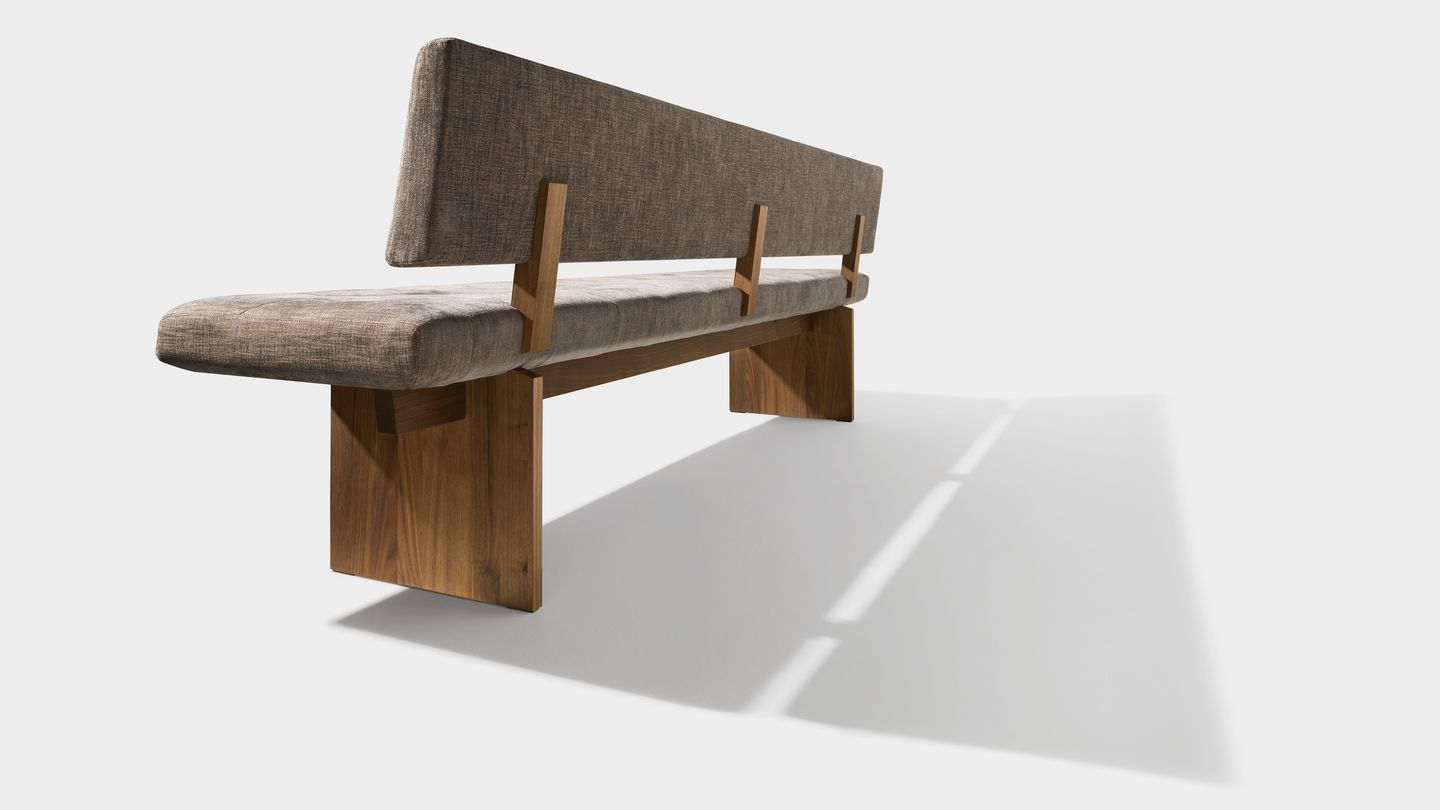 yps bench with wooden panels in walnut back view