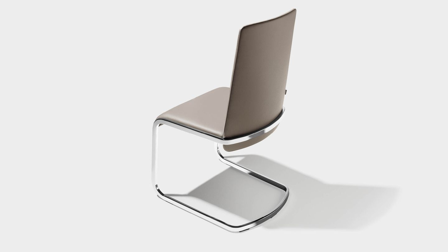 f1 cantilever chair with glossy stainless steel base