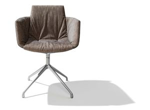 grand lui chair with swivel base in maple fabric from the front