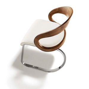 Stuhl Freischwinger girado mit weißem Leder