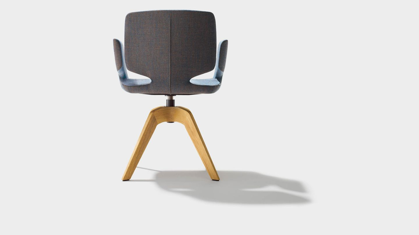 aye swivel chair in fabric with solid wood legs with armrests back view