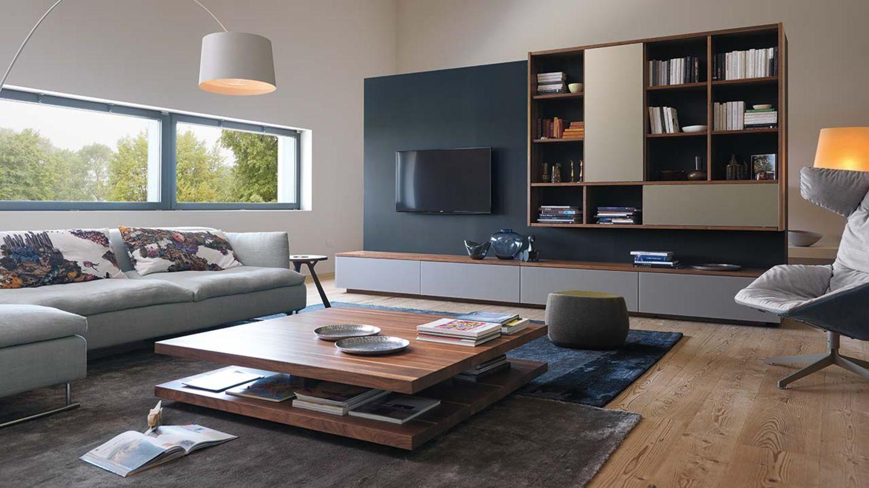 Wohnwand cubus aus Massivholz für das Wohnzimmer