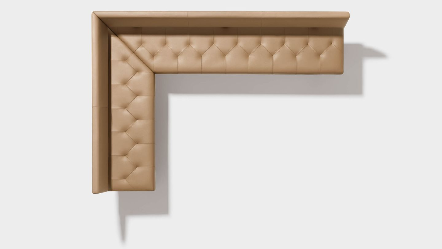 yps corner bench in leather from above
