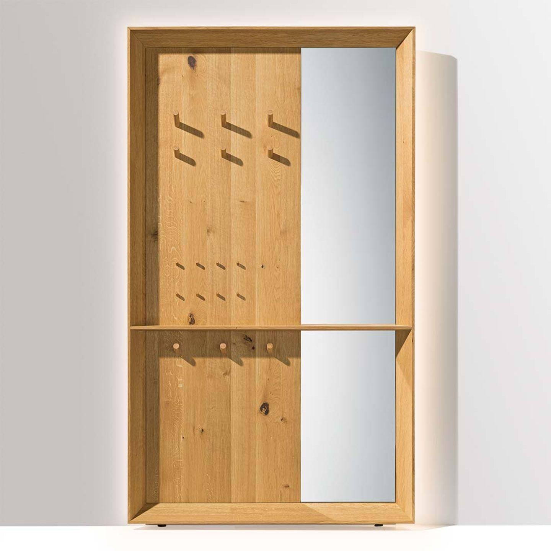 Ingresso haiku nella variante con pannello in legno naturale abbinato a specchio