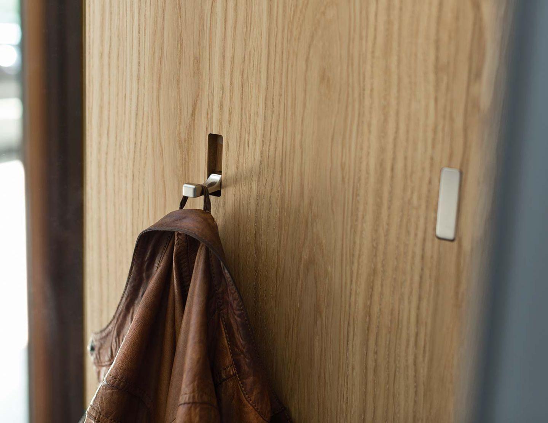 Meuble de vestibule cubus pure en bois naturel avec crochets relevables