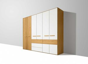 soft wardrobe with hinged doors in white oak