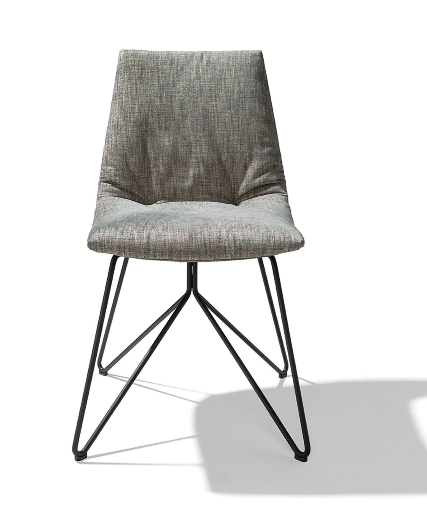 lui chaise tissu maple pietement en fil d'acier finition inox devant